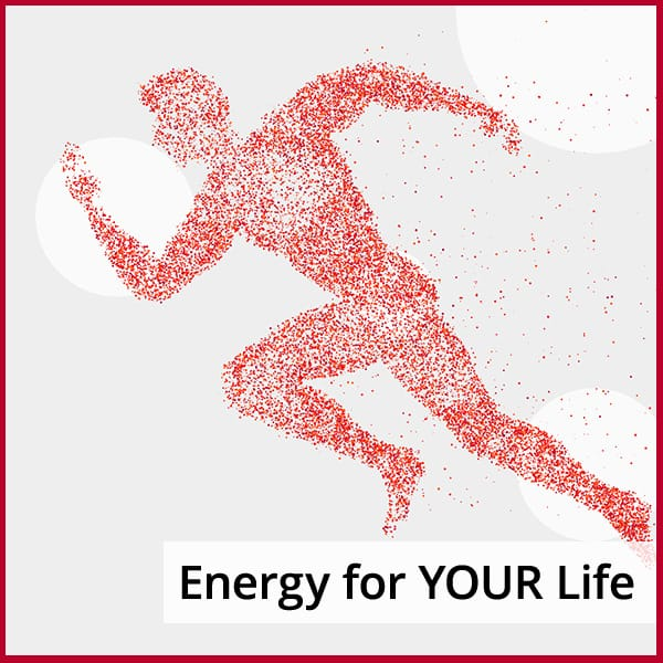 Bubble image of a runner with the caption: Energy While are Active