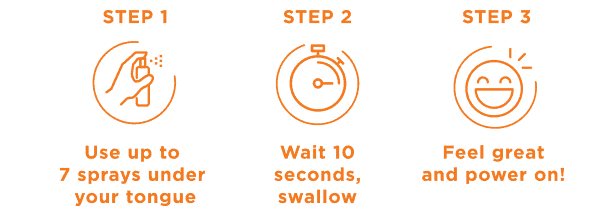 Step 1: Use up to 7 sprays under your tongue. Step 2: Wait 10 seconds, swallow. Step 3: Feel great and power on!